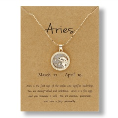 Fashion Gold Charm Necklace Daytime Twelve Constellation Paper Card Alloy Pendant Necklace Jewelry Aries
