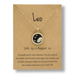 Fashion Gold Charm Necklace Day Night Twelve Constellation Paper Card Alloy Pendant Necklace Jewelry Leo