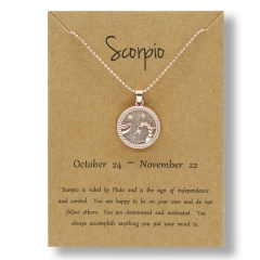 Fashion Rose Gold Charm Necklace Daytime Twelve Constellation Paper Card Alloy Pendant Necklace Jewelry Scorpio
