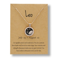 Fashion Rose Gold Charm Necklace Black Night Twelve Constellation Paper Card Alloy Necklace Leo