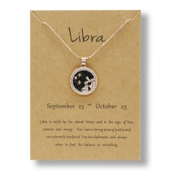 Fashion Rose Gold Charm Necklace Black Night Twelve Constellation Paper Card Alloy Necklace Libra