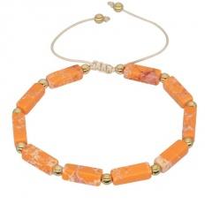 Charm Natural Stone Bracelet Rock Hip-Hop Rock Street Culture Colorful Stone Women Men Bracelet Fashion Handmade Couple Bracelet Orange