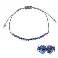 Bohemian Colorful Crystal Beads Bracelet Ethnic Adjustable Rope Bracelets for Women Girls Friendship Bracelet Charm Jewelry Gift navy blue