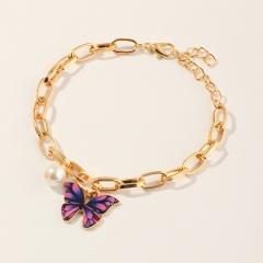 Fashion Imitation Pearl Chain Butterfly Pendant Bracelet purple