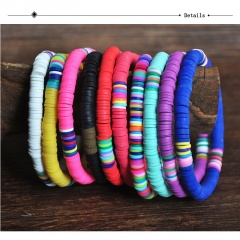 Bohemian Style Colorful Soft Clay Beach Elastic Bracelet purple