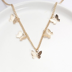 Simple Alloy Butterfly Pendant Necklace Jewelry Gift 5pcs gold