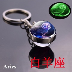 Zodiac luminous double-sided glass ball key chain Aries