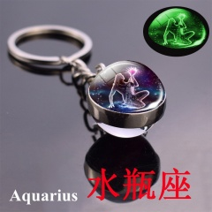 Zodiac luminous double-sided glass ball key chain Aquarius
