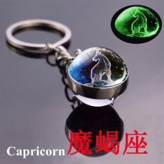 Zodiac luminous double-sided glass ball key chain Capricorn
