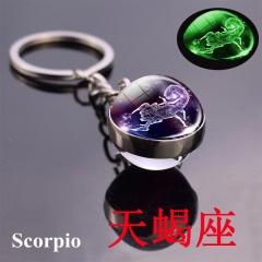 Zodiac luminous double-sided glass ball key chain Scorpio