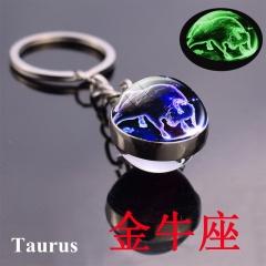 Zodiac luminous double-sided glass ball key chain Taurus