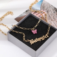 Butterfly Letter Acrylic Double Layer Chain Necklace Babygirl