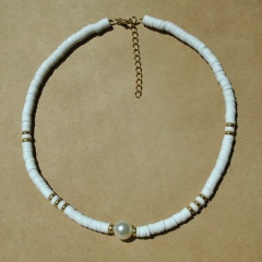 Pearl Alloy Soft Clay Beach Bohemian Elastic Necklace white
