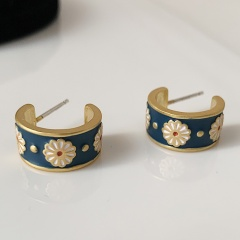 Flower Daisy Enamel Stud Drop Earrings Daisy 1