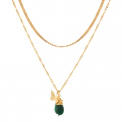 Butterfly Pendant Multi-layer Chain Clavicle Chain Necklace Green natural stone