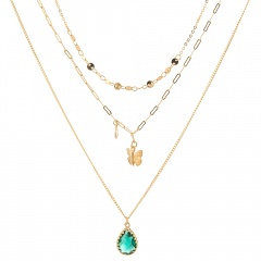 Green White Water Drop Zircon Pearl Butterfly Multilayer Chain Necklace Green Water Drop
