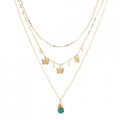 Green Drop Zircon Turquoise Pearl Butterfly Multilayer Necklace Green water drop