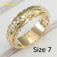 Fashion Golden Rose Gold Wedding Rose Flower Women Ring #7 gold