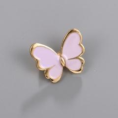 Little Butterfly Painting Oil Brooch Purple