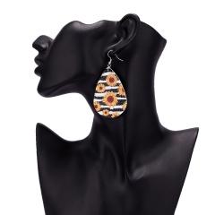 Fashion Trendy Female Water Drop Shape Sunflower Printed Leather Dangle Earrings For Women 5#