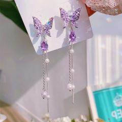 Wholesale Fashion Cubic Zirconia Wiith Pearl Rhinestone Gemstone Butterfly Earring Purple