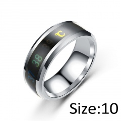 Temperature Ring Titanium Steel Mood Emotion Feeling Intelligent Temperature Sensitive Rings silver 10