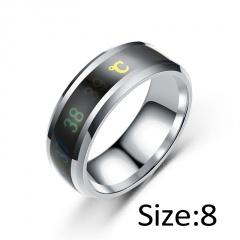 Temperature Ring Titanium Steel Mood Emotion Feeling Intelligent Temperature Sensitive Rings silver 8