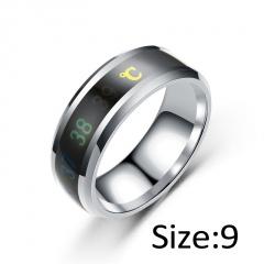 Temperature Ring Titanium Steel Mood Emotion Feeling Intelligent Temperature Sensitive Rings silver 9