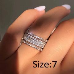 Silver Full Gemstone Statement Rings Jewelry 7