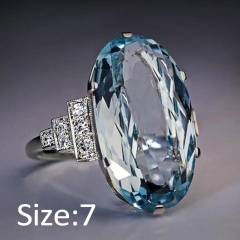 Silver Blue Crystal Stone Metal Rings Wholesale 7