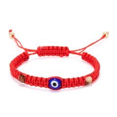 Blue - eyed evil - eyed cord woven adjustable bracelet Red