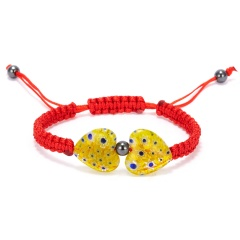 Heart Shaped Morano Glass Flower Woven Bracelet Yellow - red rope
