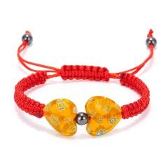 Heart Shaped Morano Glass Flower Woven Bracelet orange yellow