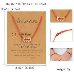 Red Rope Symbol Version Of The 12 Zodiac Braided Paper Card Bracelet Aquarius