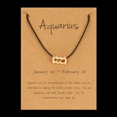 Black Rope Symbol Version Of 12 Constellations Woven Paper Card Bracelet Aquarius