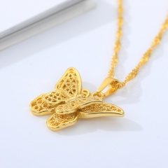 Stainless steel butterfly hollow necklace Golden