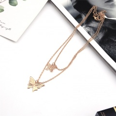Two butterfly double necklace Golden