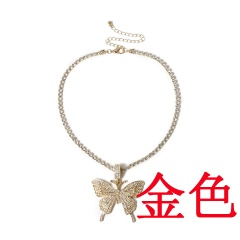 Big butterfly pendant necklace set with diamond Golden
