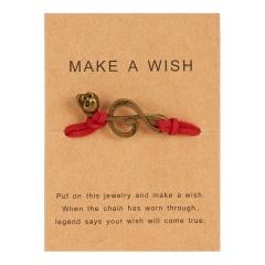 Handmade Musical Note Skull Woven Paper Card Bracelet Red