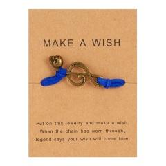 Handmade Musical Note Skull Woven Paper Card Bracelet Blue