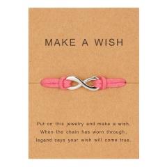 Silver Infinite Charm Leather Handmade Bracelet Pink