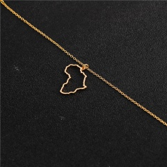 Africa Map Pendant Clavicle Chain Necklace Jewelry Gold