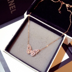 Smart Butterfly Zircon pendant necklace with clavicle chain Rose Gold