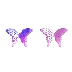 S925 Silver Discoloration Butterfly Stud Earrings Purple