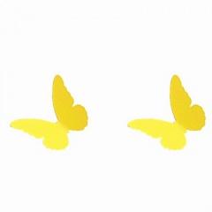 Simple Small Metal Alloy Butterfly Stud Earrings Yellow