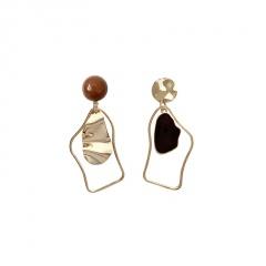Simple Alloy Golden Irregular Dangle Earrings Gold