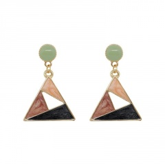 Triangle Alloy Dripping Oil Golden Dangle Earrings Triangle