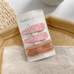 3pcs/set daisy hairpin side clip bangs Pink