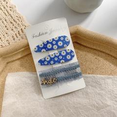 3pcs/set daisy hairpin side clip bangs Blue