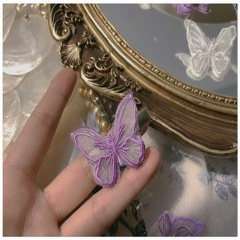White Lace Butterfly Hair Pins Purple